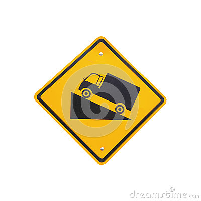 Free Steep Grade Hill Traffic Sign On White Background Royalty Free Stock Photography - 38117107