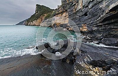 Steep shoreline cliffs