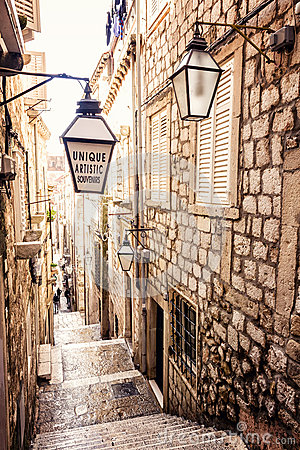Free Steep Stairs And Narrow Street In Old Town Of Dubrovnik Stock Photography - 43659692