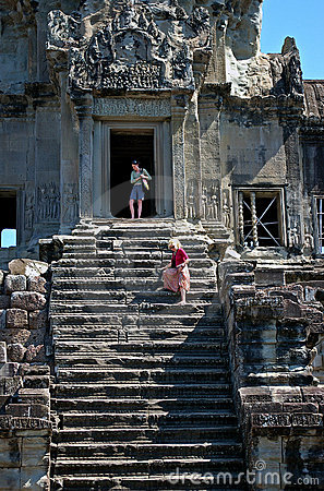 Steep steps at Angkor Wat Editorial Image