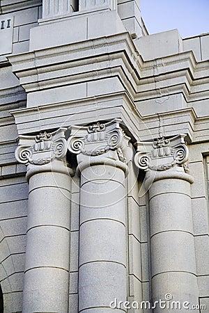 Steep View Of Classical Columns, Pillar