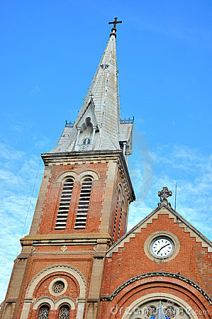 Steeple of Catholic church in Saigon, VietNam