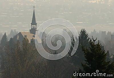 Steeple in Fog