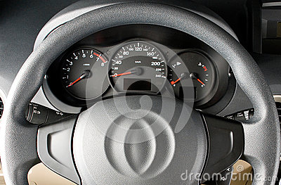 Steering wheel close up