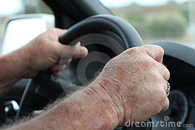 Steering wheel and hands driving