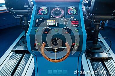 Steering Wheel On A Luxury Cruise Ship RoyaltyFree Stock Image - Cruise ship controls