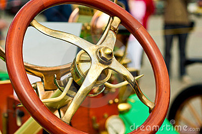 Steering wheel of an old car