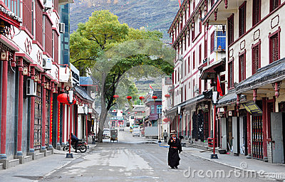 Steet in Songpan town Editorial Stock Photo