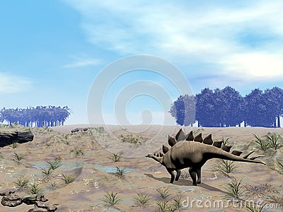 Stegosaurus looking for water