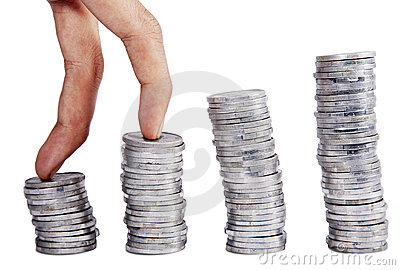 Steigender Münzenstab