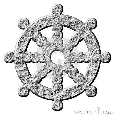Steinsymbol-Rad des buddhismus-3D von Dharma