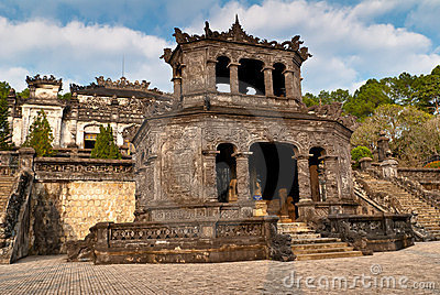 Stele Pavilion in Khai Dinh Tomb, Hue, Vietnam