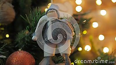 Stella filante bruciante sui precedenti delle luci e delle ghirlande dell'albero di Natale di narazeni sul lato video d archivio