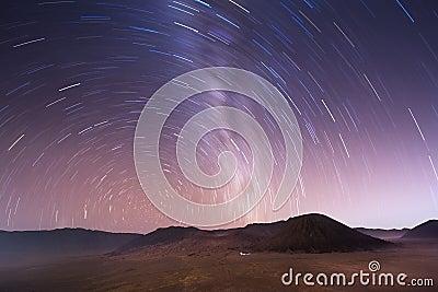 Stellar sky over Bromo volcano, Indonesia