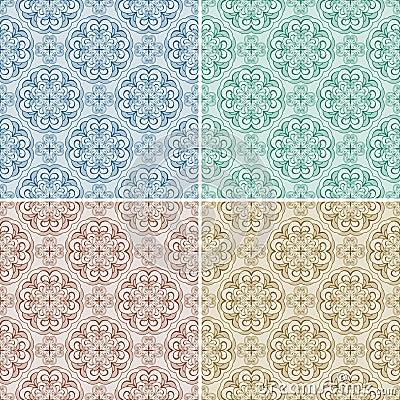 Stellen Sie mit vier nahtlosen Mustern ein