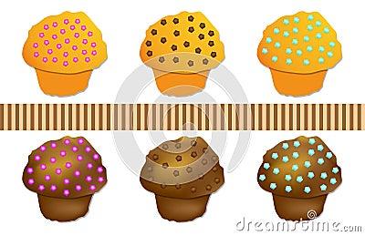 Stellen Sie Muffin gefärbt, Vektor ein