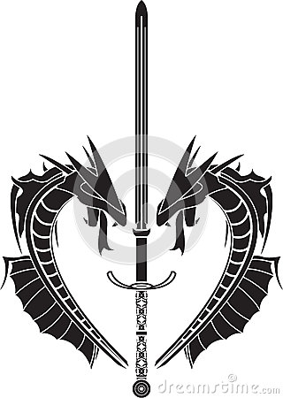 Stencil of dragons and medieval sword