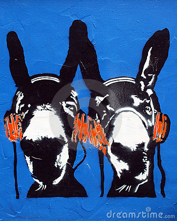 Stencil Graffiti Donkeys Editorial Stock Photo
