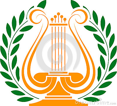 Stencil of lyre and laurel wreath