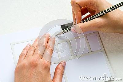 Stencil paper pencil