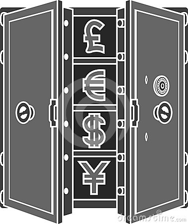 Stencil of safe with currency signs
