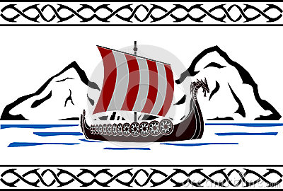 Stencil of viking ship