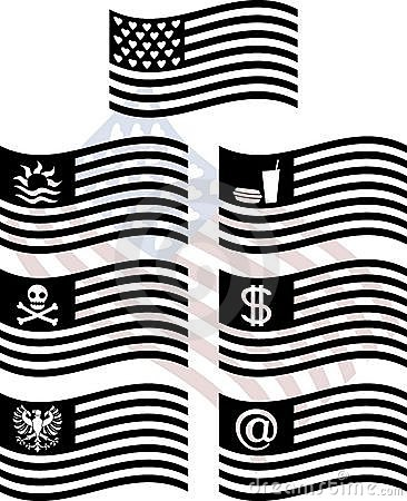 Stencils of fantasy usa flags