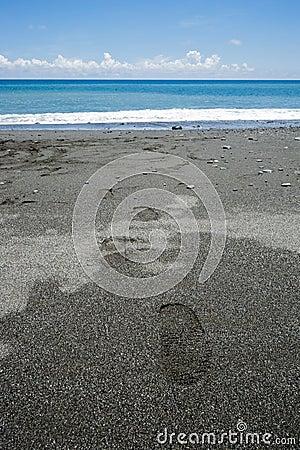 Step on the beach with blue ocean