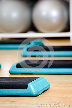 Step board and gym balls