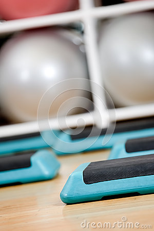 Step boards and gym balloons