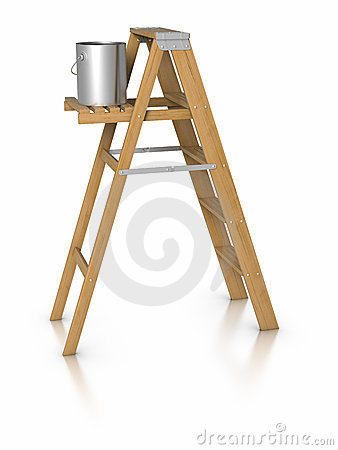Step ladder and paint bucket