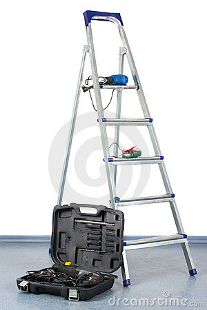 Step-ladder with a tool box