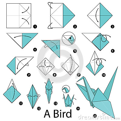 Step by step instructions how to make origami A Bird. Vector Illustration