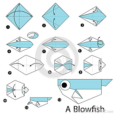 step by step instructions how to make origami a blow fish. Black Bedroom Furniture Sets. Home Design Ideas