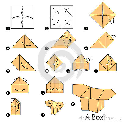 Step By Step Instructions How To Make Origami A Box. Stock ...