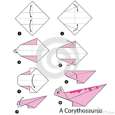 step by step instructions how to make origami a dinosaur stock vector image 66750006. Black Bedroom Furniture Sets. Home Design Ideas