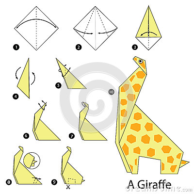 Step By Instructions How To Make Origami A Giraffe Vector Illustration