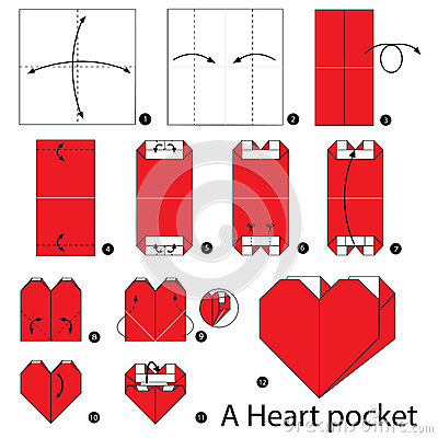 Step By Step Instructions How To Make Origami A Heart Pocket. Stock Vector - Image: 67184747