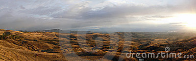 Steppe landscape on a decline panorama
