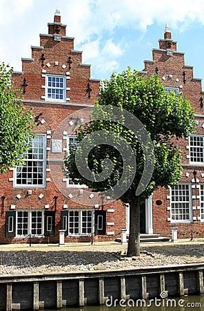 Stepped gable houses in Sloten, Holland