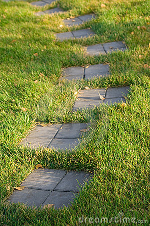 Stepping stone path on grass