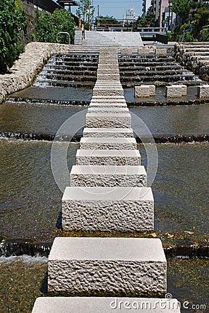 Free Stepping Stones In Horu-Kawa River Royalty Free Stock Images - 9938469