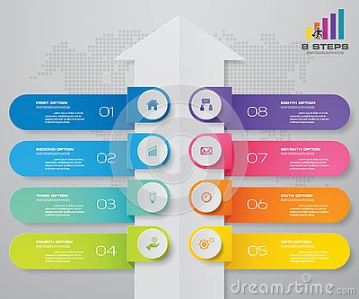 8 steps of arrow infografics template. for your presentation. Vector Illustration