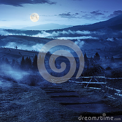 Free Steps Down To Village In Foggy Mountains At Night Stock Photography - 47217082