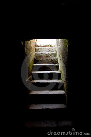 Steps leading up from darkness