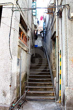 Steps through old narrow alley