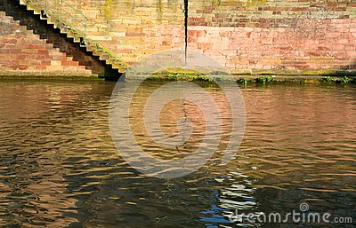 Steps on quay of canal in town