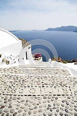 Steps on Santorini island