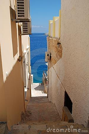 Steps to the harbour, Halki