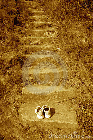 Steps to sacred space  and lone warrior at the top